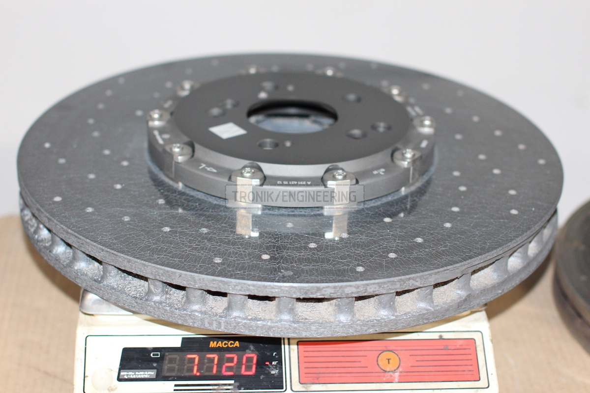 Front carbon-ceramic brake rotor 402-39 weight is 7,7 kg