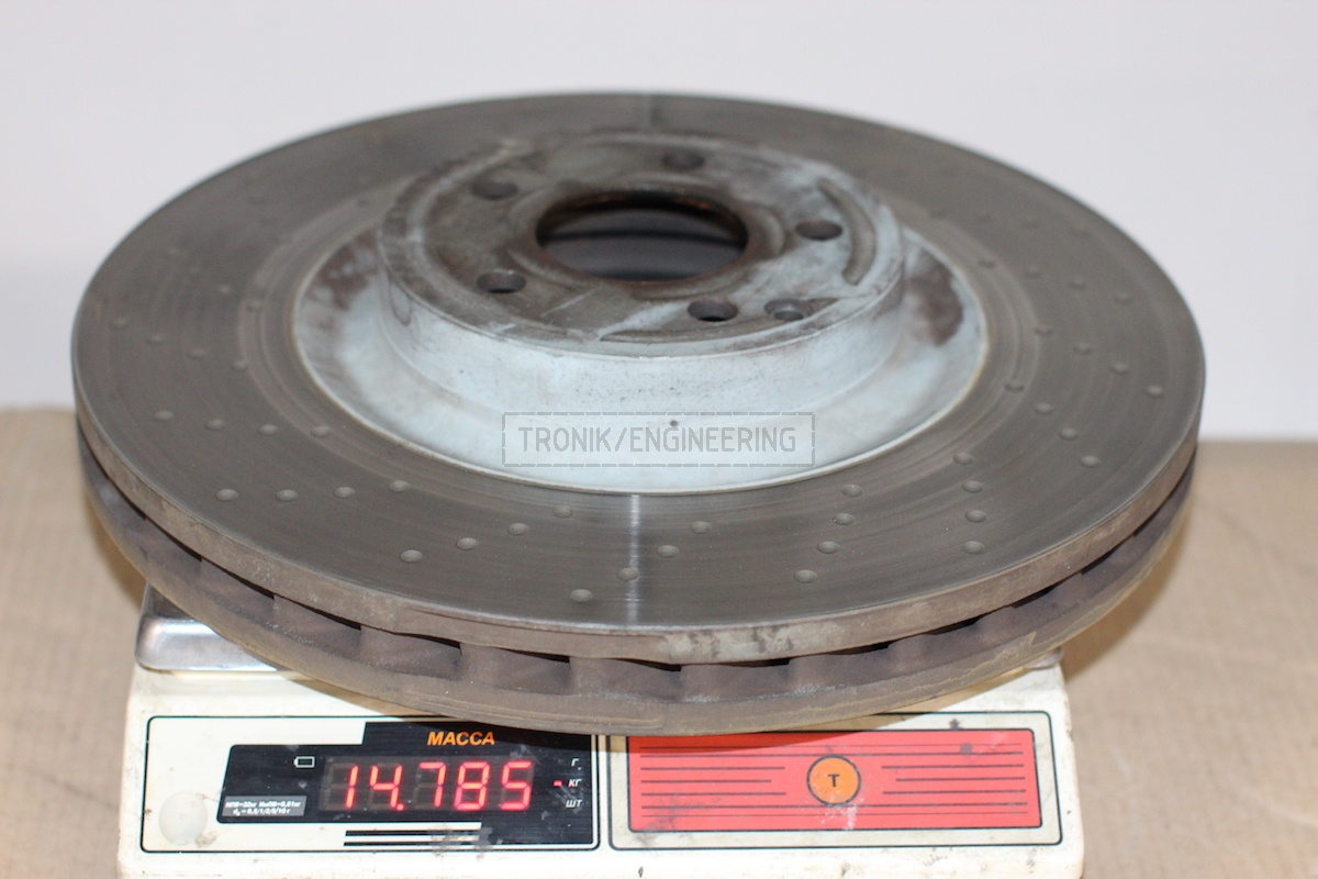 established front brake rotor weight is 14,8 kg