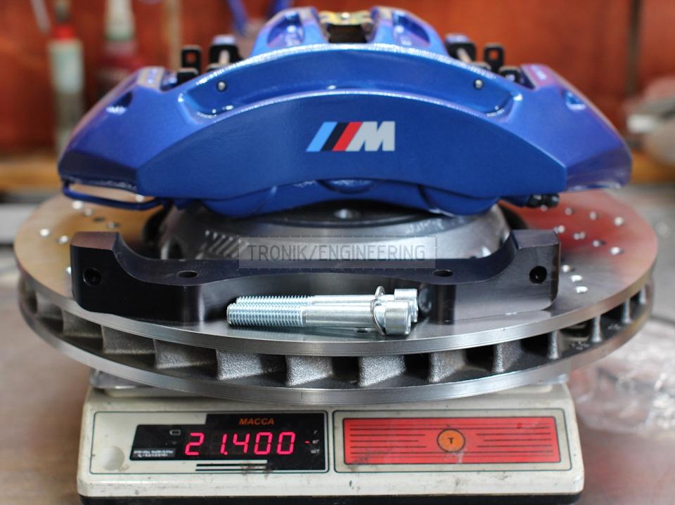 weight of brake rotor 400*36 & 6-pot caliper & brake pads & adapter is 21,4 kg