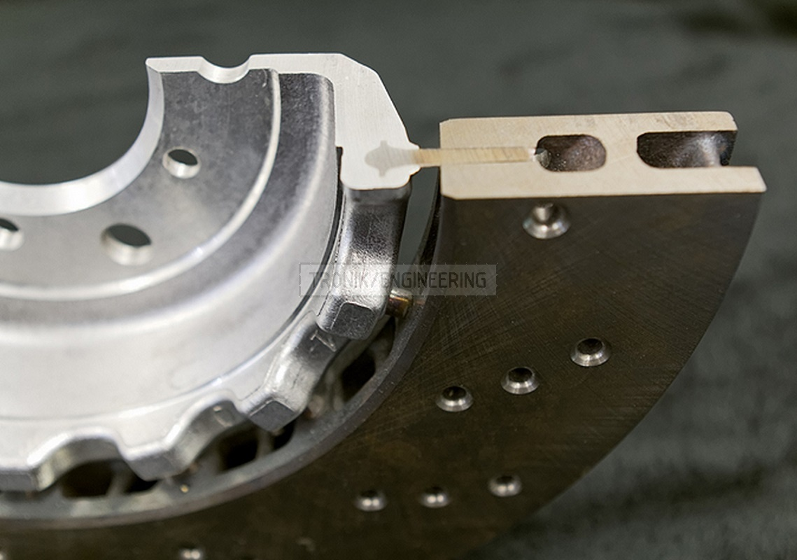 locating pins in brake rotor cross-section