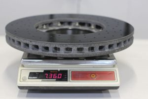 Weight of front left carbon-ceramic rotor is 7 360 g.