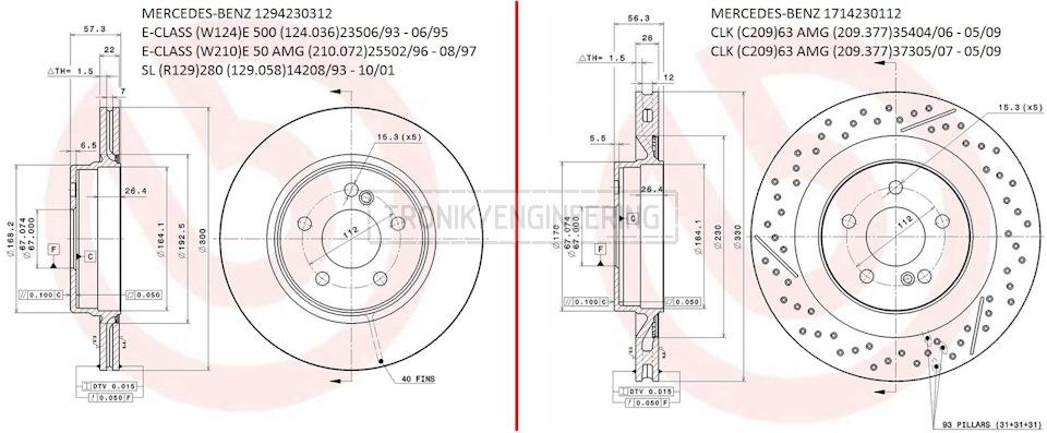 Mercedes W124& C209 brake rotors' designs