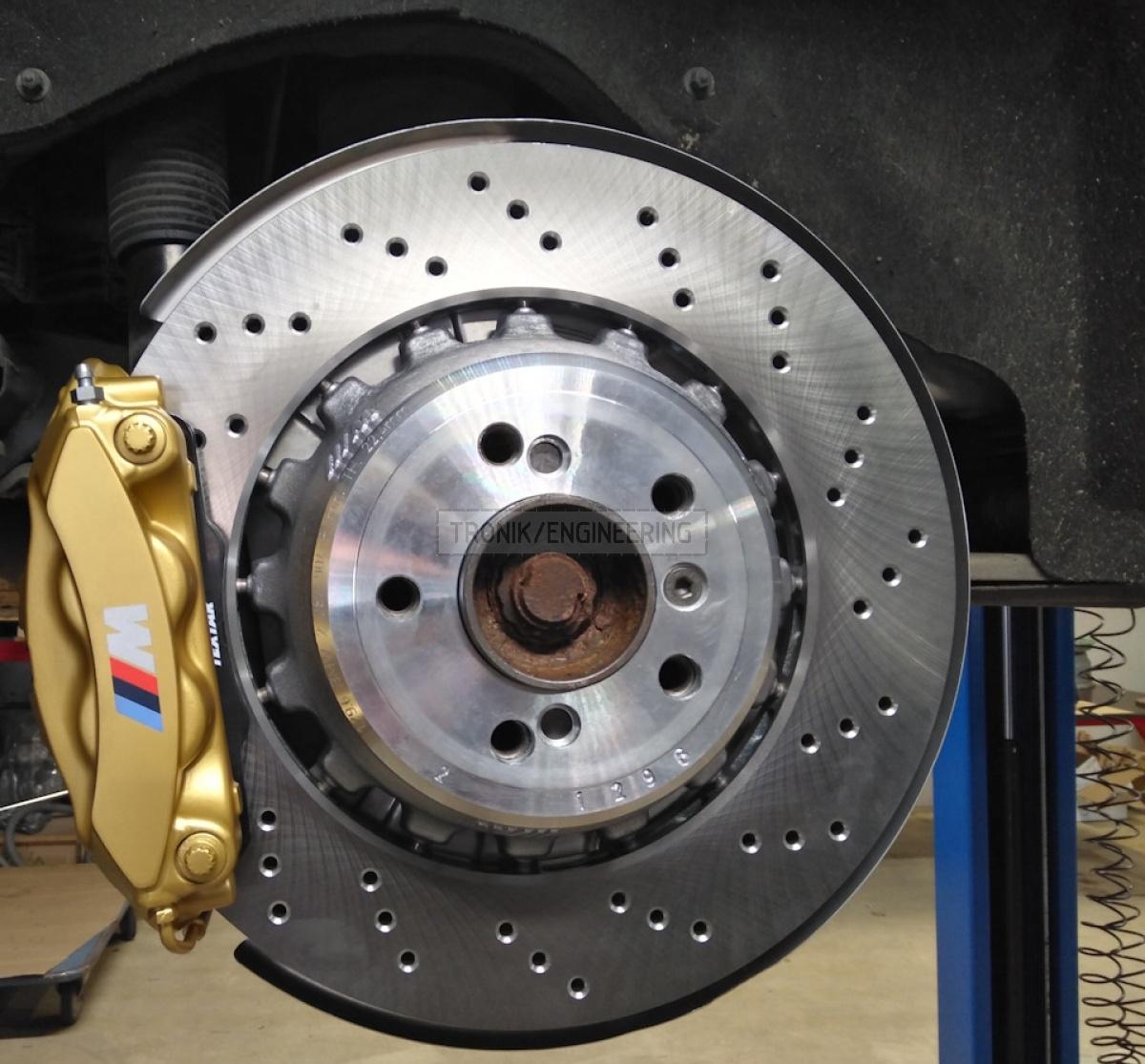 rear brake rotor 385-24 modified 4 pot Brembo caliper pic2