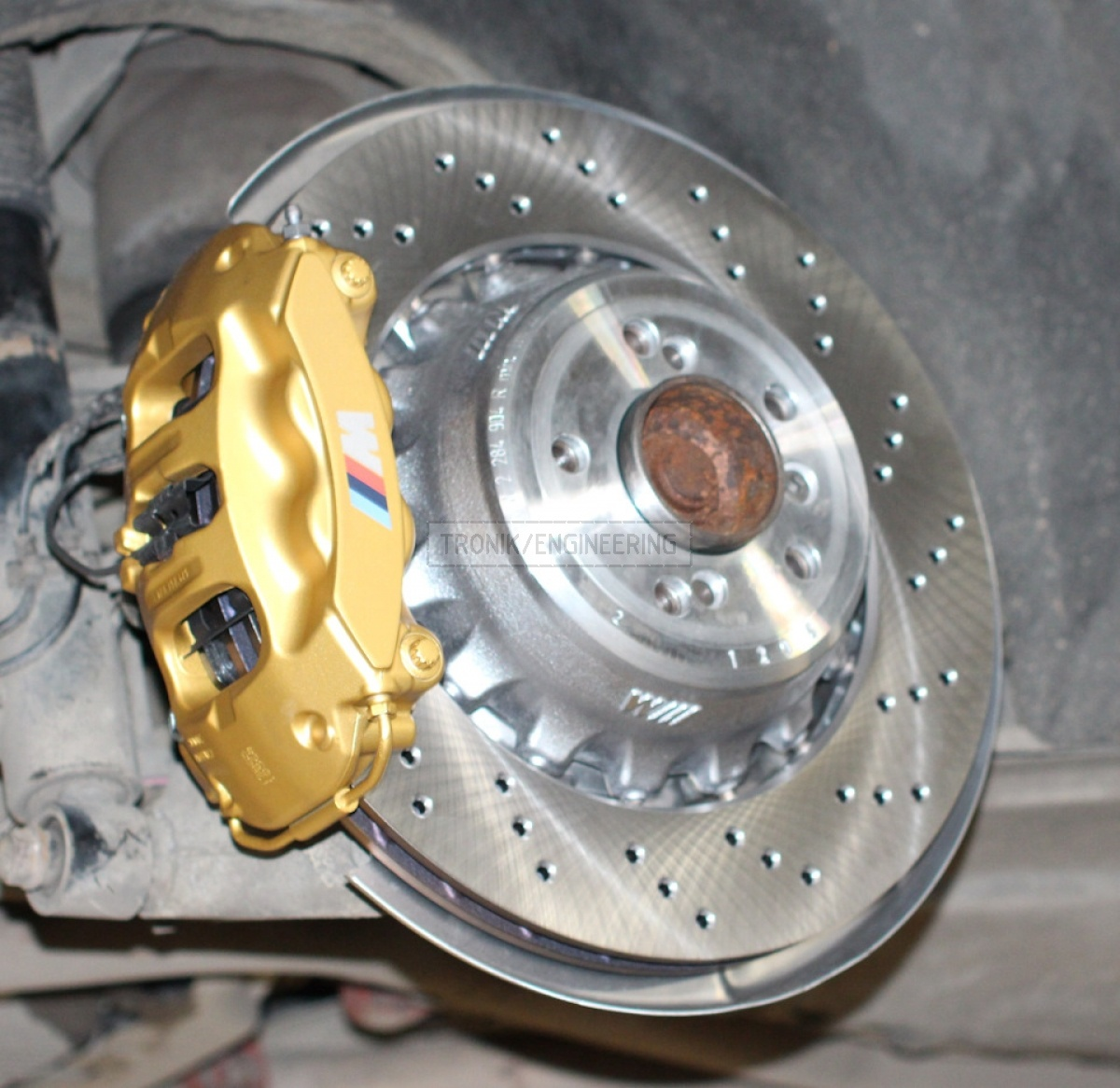rear brake rotor 385-24 modified 4 pot Brembo caliper pic3