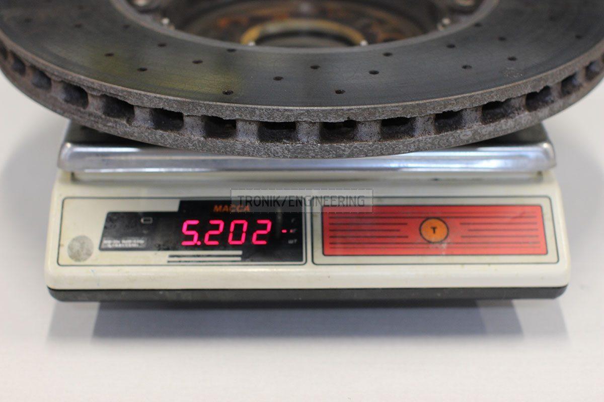 right rear ceramic brake rotor weight 5202 gr